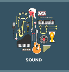 instruments with great sound formed in circle vector image vector image