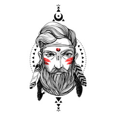 portrait man with feathers and ethnic symbols vector image vector image