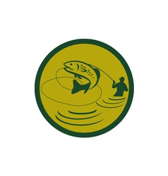 Trout Jumping Fly Fisherman Circle Retro vector image vector image