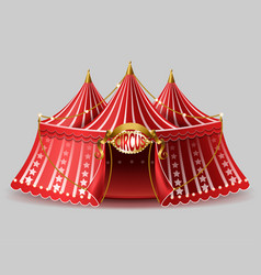3d realistic circus tent with signboard vector