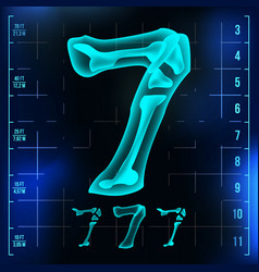 7 number seven roentgen x-ray font light vector image