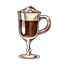a cup coffee latte in vintage style hand drawn vector image