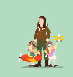 A pilot with his children playing airplane toy vector