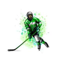 abstract hockey player from splash watercolors vector image