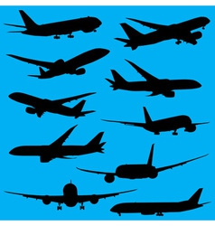 Airplanes silhouettes part 2 vector image