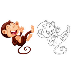 animal outline for monkey laughing vector image