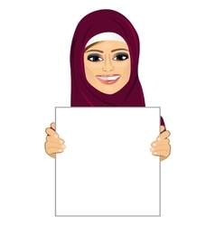 Arabic woman wearing hijab holding blank board vector