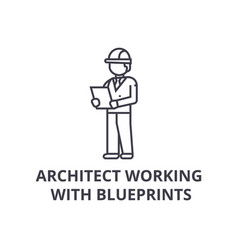 architect working with blueprints line icon vector image