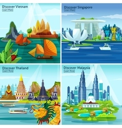 Asian Travel 2x2 Design Concept vector