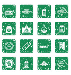Black friday icons set grunge vector