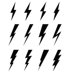 black icons of thunder lighting vector image