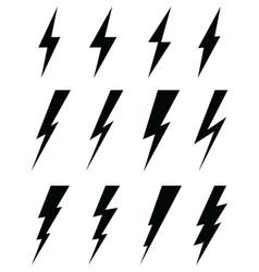 Black icons of thunder lighting vector