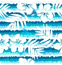 Blue bright flowers and painted stripes seamless vector