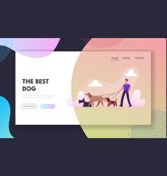 Breeder walking with dogs team website landing vector