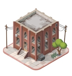 Brick building isometric vector