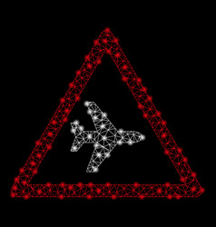 bright mesh wire frame airplane warning with light vector image