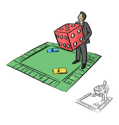 businessman holding big red dice in monopoly vector image