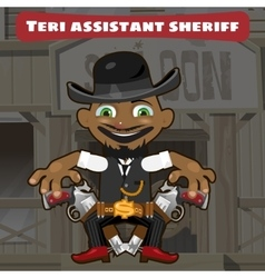 Cartoon character in Wild West - sheriff assistant vector image