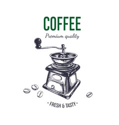 coffee logo hand drawn 2 vector image
