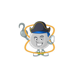 cool pirate n95 mask cartoon with one hook hand vector image