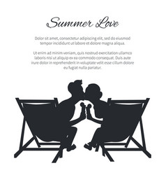 couple silhouette kissing on sunbeds on white vector image