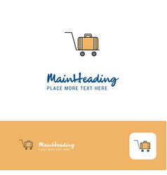 Creative luggage cart logo design flat color logo vector