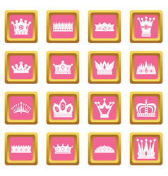 Crown icons pink vector