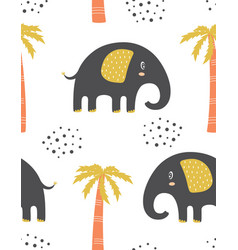 Cute seamless elephants and palm trees pattern vector