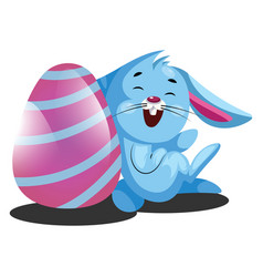 decorated easter egg and little blue rabbit web vector image