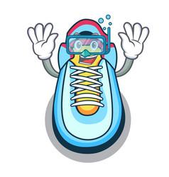 Diving cartoon pair of casual sneakers vector