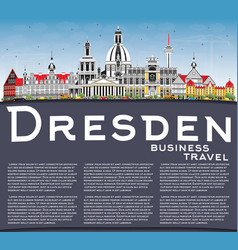 dresden germany city skyline with color buildings vector image