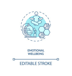 Emotional wellbeing blue concept icon vector
