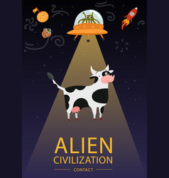 Flat alien poster vector
