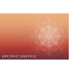 fractal element with connected lines and dots big vector image