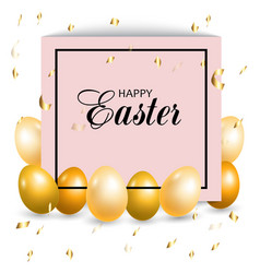 frame with golden easter eggs vector image
