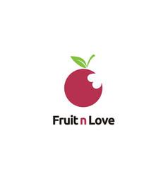 fresh fruit with love bite marks vegetarian logo vector image