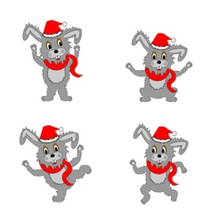 Funny christmas hares on a white background vector image