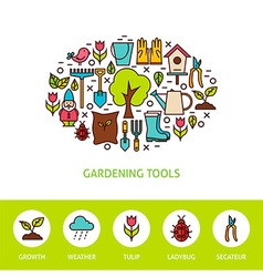 Gardening Tools Flat Outline Design Template with vector