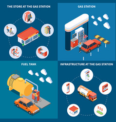 gas station isometric design concept vector image