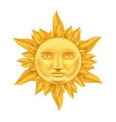 Golden sun face antique crown flames realistic vector