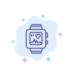 hand watch watch love heart blue icon on abstract vector image