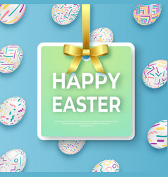 happy easter template with golden ribbon bow and vector image