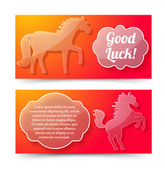 happy new year of horse banners set vector image
