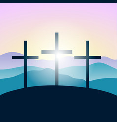 Holy crosses silhouettes mountains forest at vector