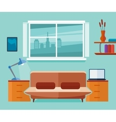 Home office interior with sofa and laptop vector