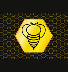 honeycomb background and bee logo vector image