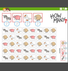 How many farm animal characters counting game vector
