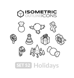 Isometric outline icons set 52 vector image