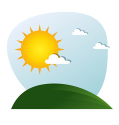 landscape with sun and clouds design vector image