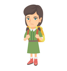 Little caucasian sad schoolgirl carrying backpack vector